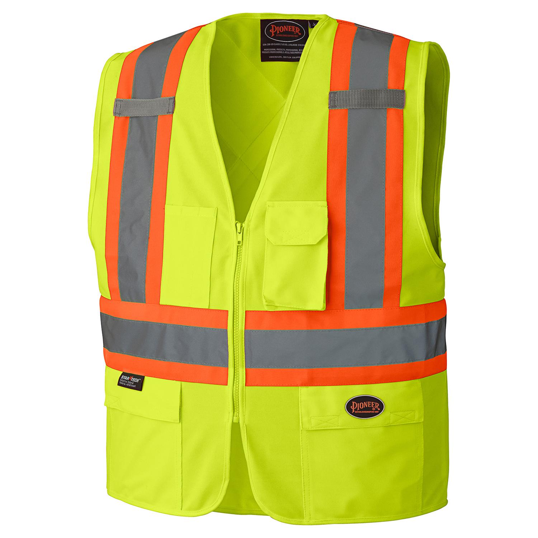 dd532fff7307 Pioneer 159 Hi-Viz Zipper Front Safety Vest – Tricot Poly – Hi-Viz  Yellow Green