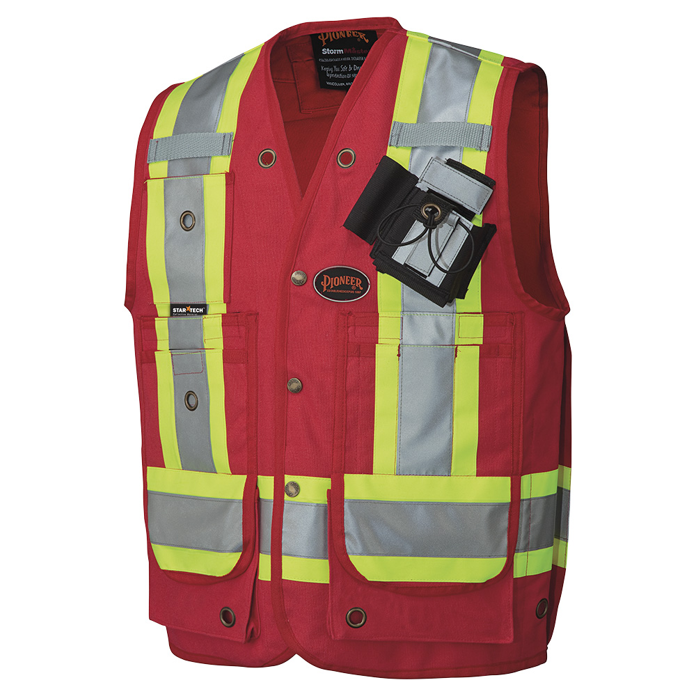 Pioneer 694 Surveyor S Supervisor S Safety Vest Cotton Duck Red Pioneer Viking Hivis Workwear Safety Products Canada